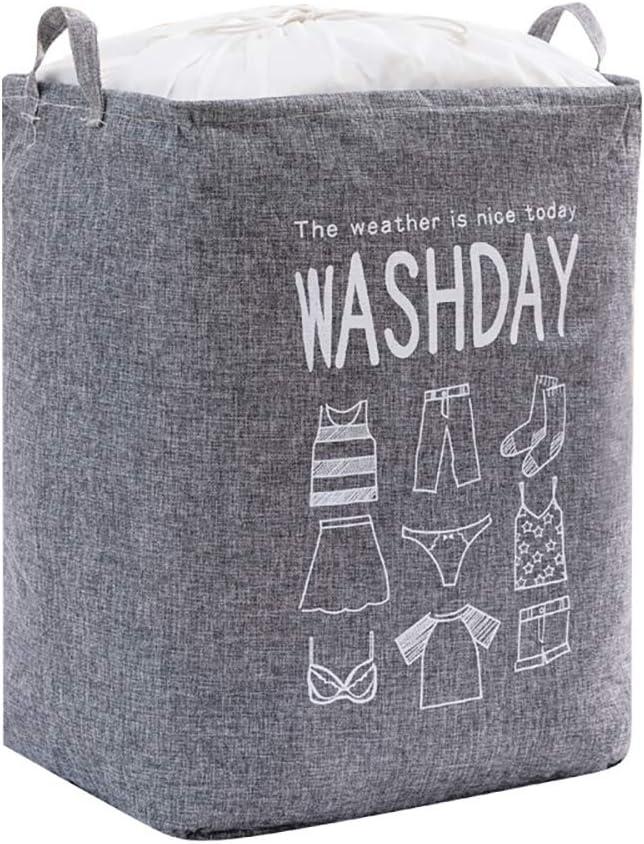 Homeanda Grey Linen Drawstring Large Laundry Basket Laundry Hamper Collapsible Foldable Laundry Bag Handles Waterproof Portable Washing Bin Folding Clothes Storage Bag for Travel Bathroom College
