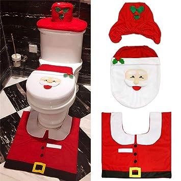 Copri Wc Babbo Natale.Fjiujin Copri Wc Babbo Natale Decorazione Natalizia Rossa