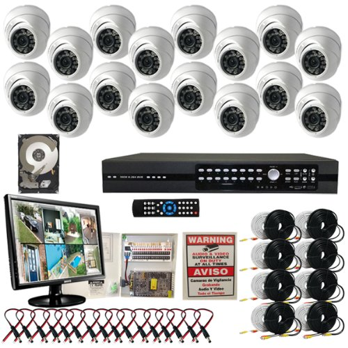 - Evertech 16CH H.264 Standalone DVR CCTV Surveillance System with 16 Aptina CCD Dome Security Cameras-1TB HDD-LCD Monitor