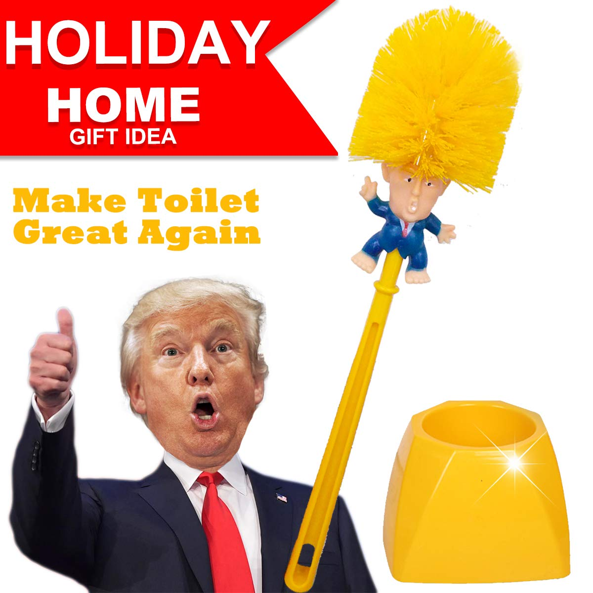 Donald Trump Toilet Brush Cleaner Scrubber Set Funny Trump Toilet Bowl Brush and Holder for Bathroom Storage Non-Skid Base Sturdy Deep Cleaning Make Toilet Great Again(Brush+Base) by Great Home