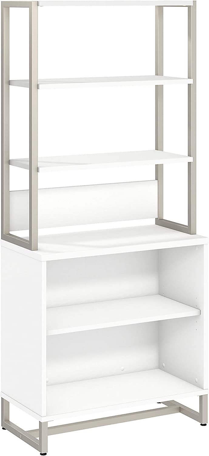 Bush Business Furniture Office by kathy ireland Method Bookcase with Hutch, White