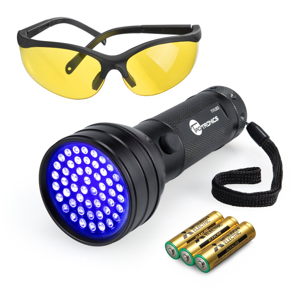 TaoTronics TT-FL002 Black Light, 51 LEDs Uv Blacklight Flashlights Detector for Dry Pets Urine & Stains & Bed Bug with Free Uv Sunglasses & 3 Free AAA Batteries, Purple by TaoTronics