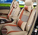 Amooca VTI Universal Front Rear Car Seat Cushion Cover Orange&Beige 10pcs Full Set Needlework PU Leather