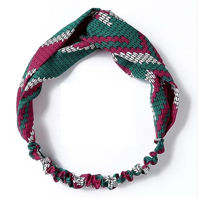 45f6559d7 Rcdxing Moda Cruz roja y verde de la mujer anudada Hairband diadema de  punto Vintage diadema