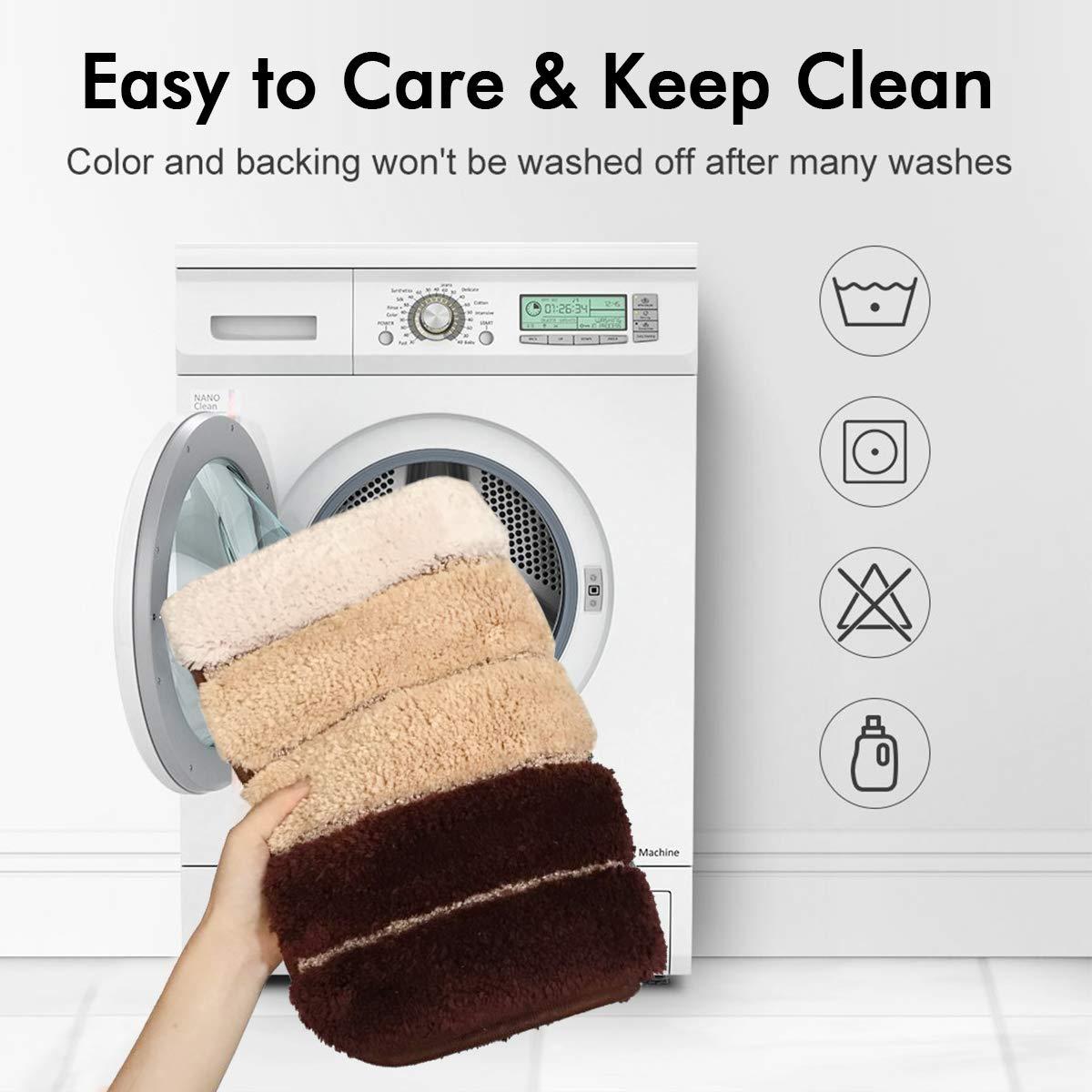 Machine-Washable MAYSHINE Bath mats Bathroom Rugs 20-Inch-by-31-Inch Bath Mat Rug Perfect Doormats Tub Shower Non-Slip Soft Fluffy Water Absorbent Shaggy D8 Microfiber Brown
