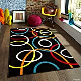 Allstar 5 X 7 Multi Color Woven Modern Abstract Circle Link Design Area Rug (5′ X 6′ 11″) For Sale