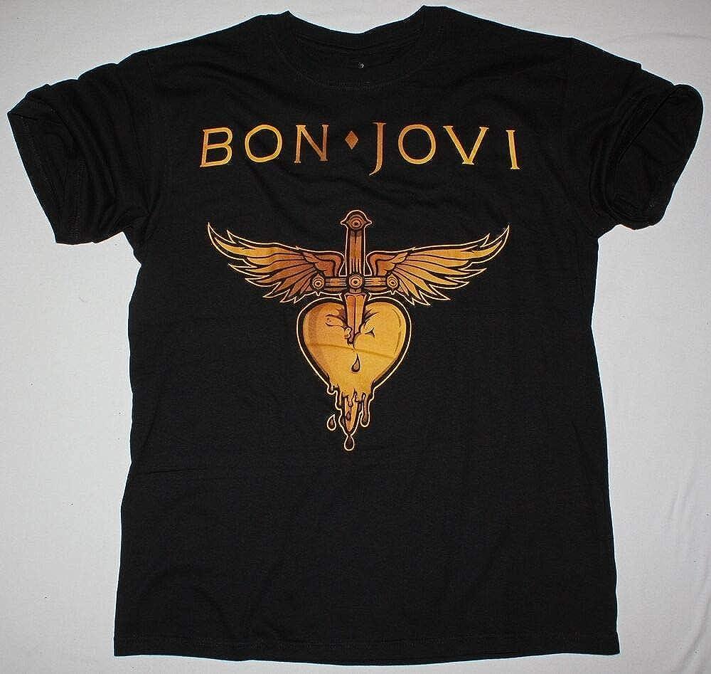 BON JOVI HEART LOGO BLACK MENS T SHIRT HARD ROCK GLAM RICHIE SAMBORA POISON KISS