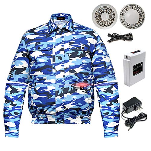Goldfox Workwear Fan Jacket with Lithium-Ion Battery Pack for Summer Outdoors,Air-Conditioned Clothes Unisex Camouflage Blue XL (Air Conditioned Jacket)