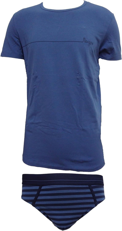Navigare Coordinato Uomo Slip t-Shirt Girocollo Cotone Elasticizzato Art 11583