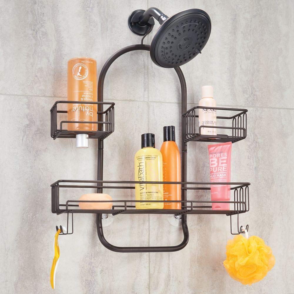 Body Wash Loofahs Hanging Storage Organizer Center with Built-in Hooks and Baskets on 2 Levels for Shampoo mDesign Metal Wire Tub /& Shower Caddy Rust Resistant Black