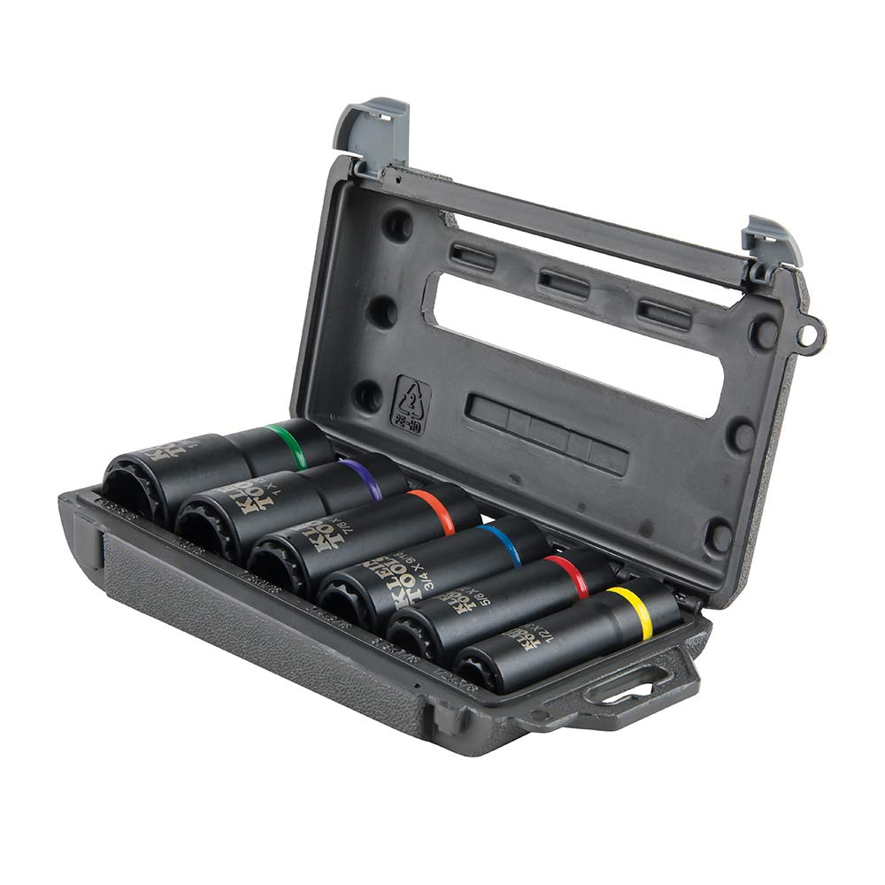 Klein Tools 66010 Socket Set, Impact Socket Set, High-Torque Deep Sockets, 12-Point, 1/2-Inch Drive, with Carrying Case by Klein Tools