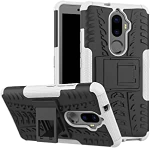Lenovo K8 Plus -Hybrid TPU Armor Silicone Rubber Hard Back Impact Stand Case Cover White