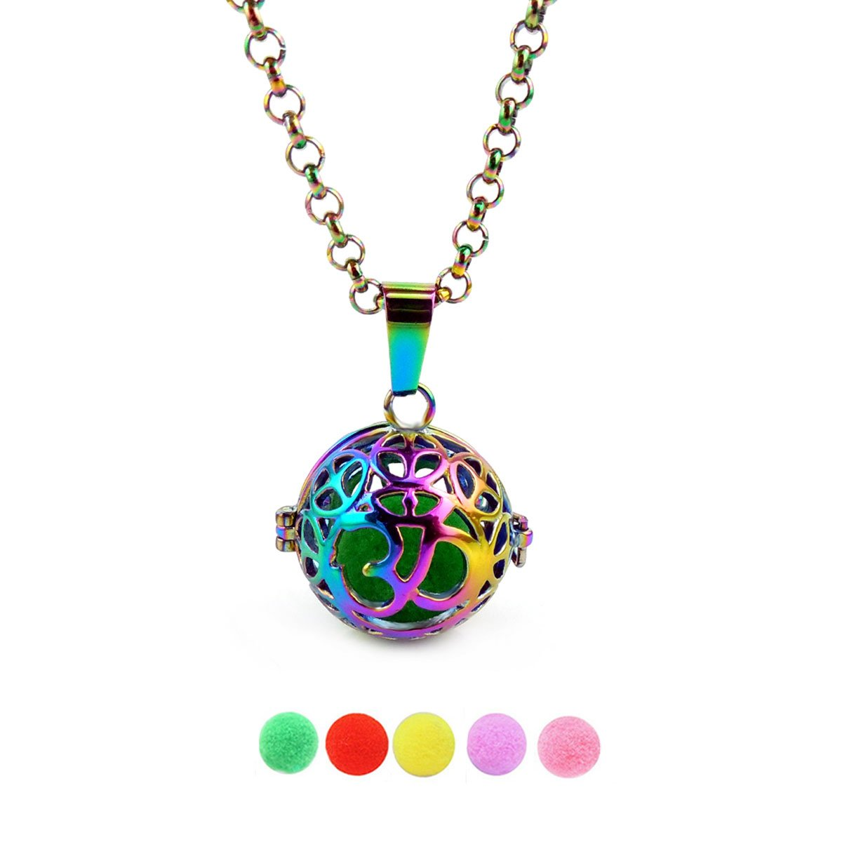 Rainbow Aromatherapy Essential Oils Cage Necklace Om Ohm Aum Yoga Pendant Mantra Pearl Glass Crystal Bead Cage Holder