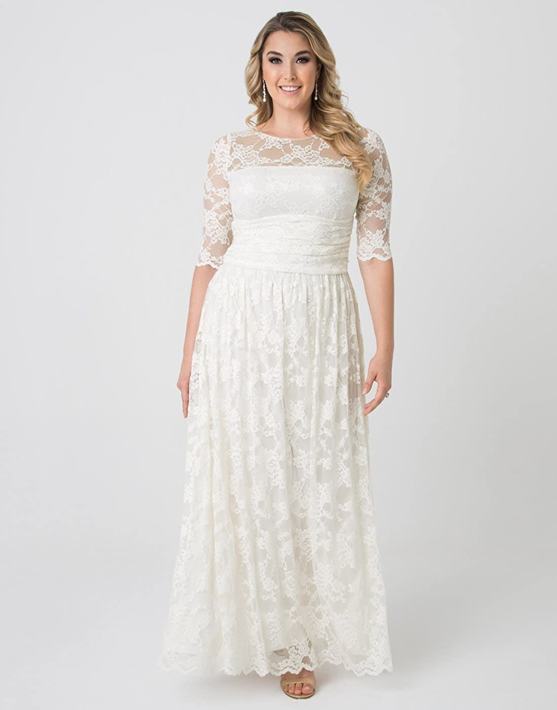 Kiyonna Womens Plus Size Lace Illusion Wedding Gown