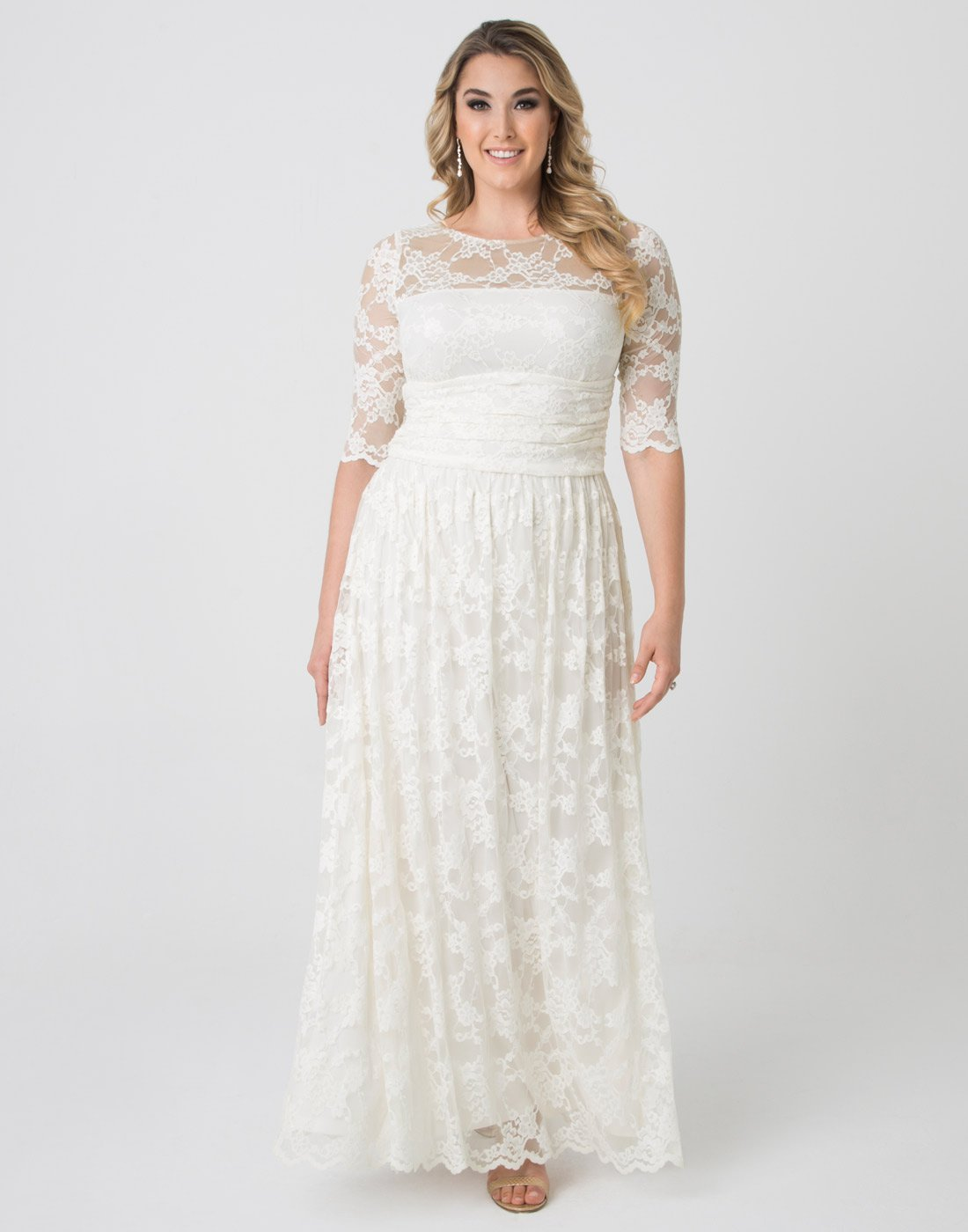 dd7c7d608e6 Home Brands Kiyonna Dresses Kiyonna Women s Plus Size Lace Illusion Wedding  Gown 2X Ivory.   