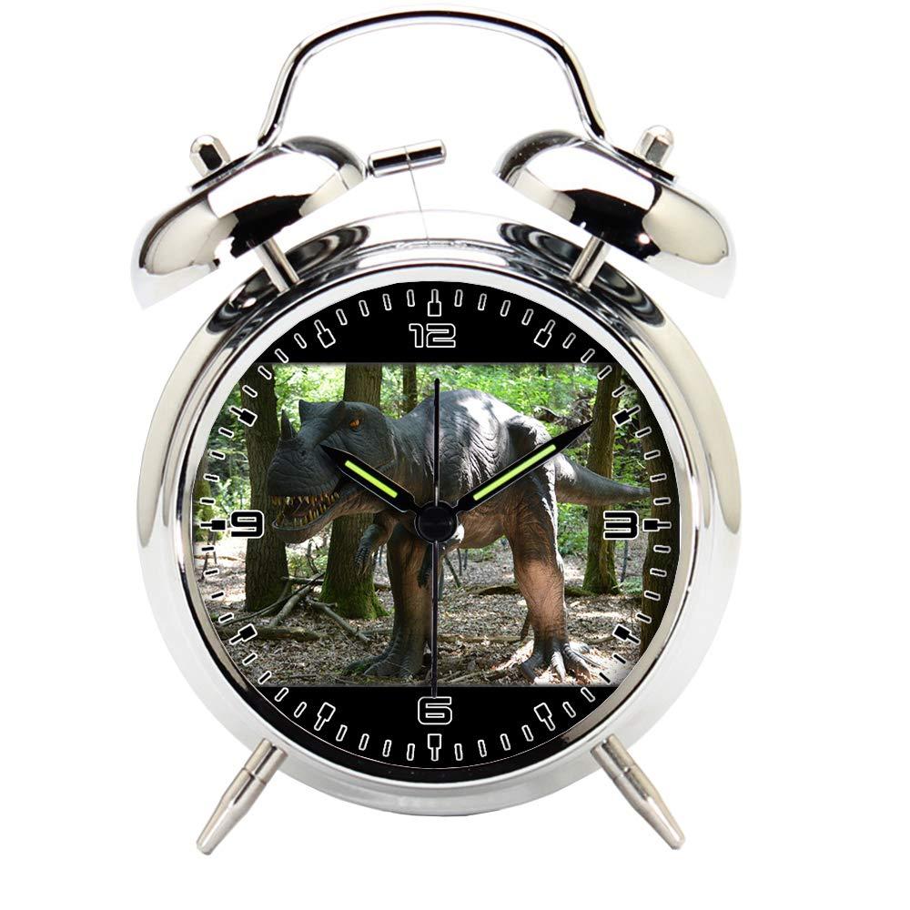 Children's Room Silver Dinosaur Silent Alarm Clock Twin Bell Mute Alarm Clock Quartz Analog Retro Bedside and Desk Clock with Nightlight-739.85_Animal Fauna Animals Extinction Dinosaur