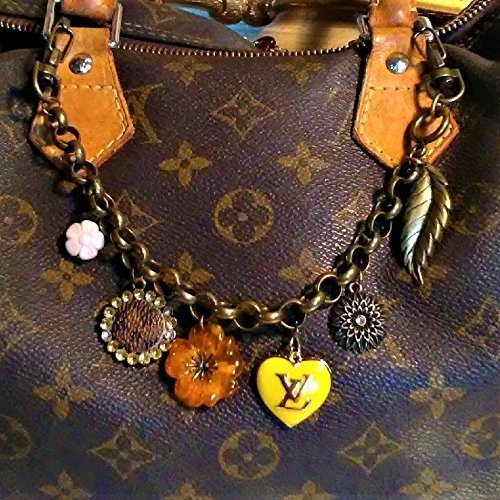 art & Flowers Bag Chain Charm, Purse Chain fashioned with handmade monogram canvas upcycle re-purposed charm. Item #201 ()