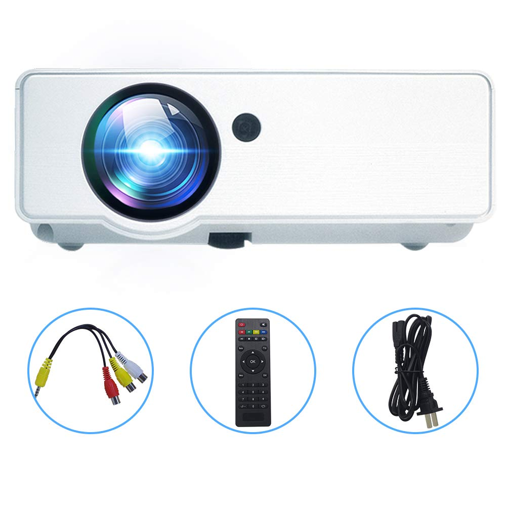 Topfoison Mini HD LCD Portable Projector, Full HD LED Video 1080p Resolution Supported,Compatible with TV Box,PS4,HDMI,B-Box,PC,TV,Camera for Multimedia Home Theater