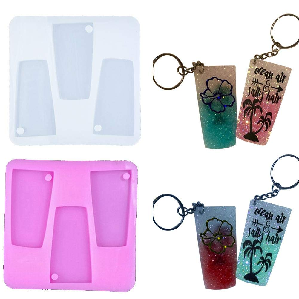 purefun Tumbler Silicone Mold,Glossy Water Glass Shape for Key Chain Perforated Resin Clay Mold Crafts Tools Moulds for Plaster Chic