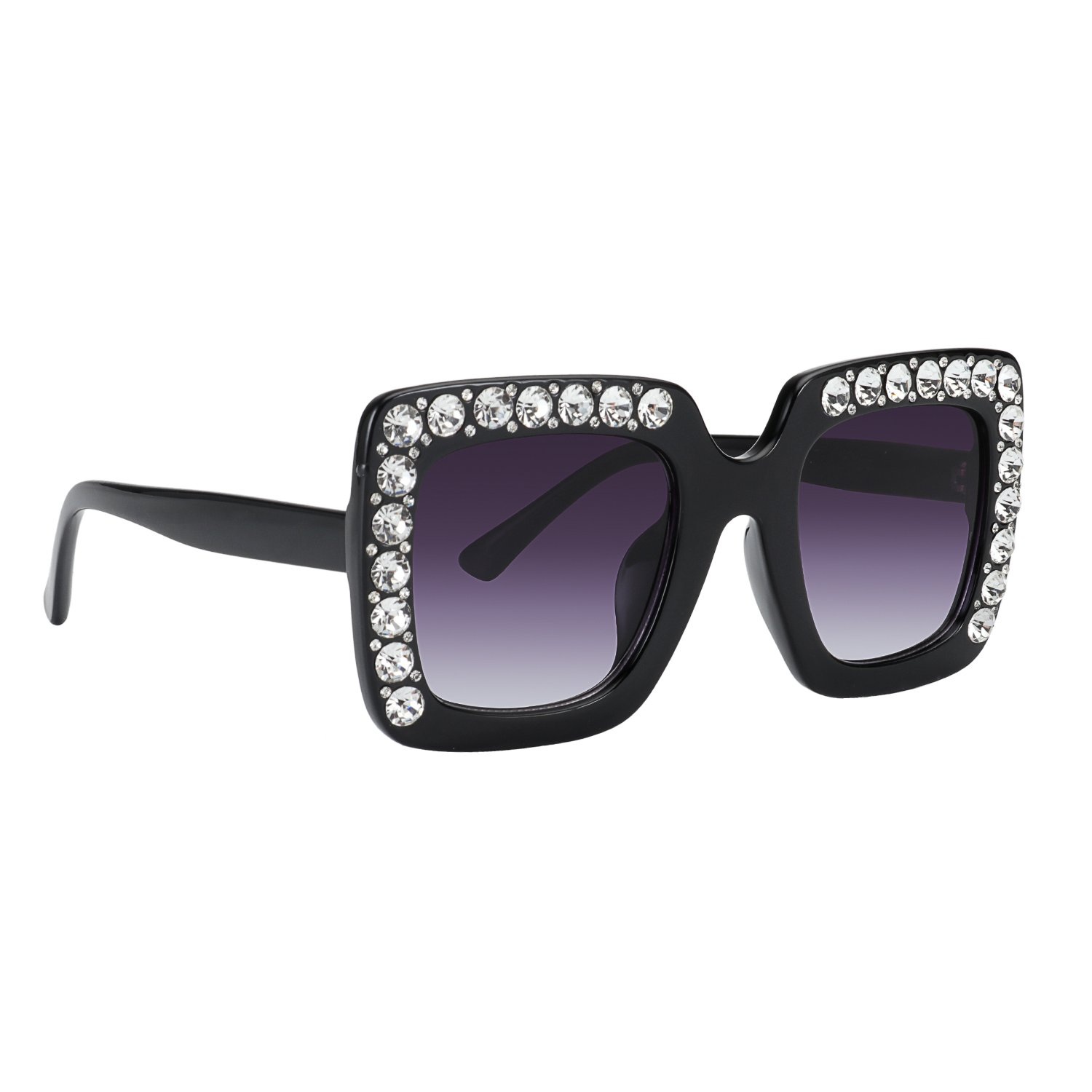 ROYAL GIRL Kids Childrens Crystal Sunglasses For Girls Rhinestone Square Shades (Black)