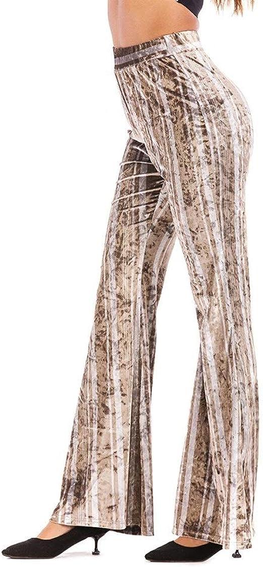 女性の ド蝶コーテ カジュアルストライプのウエストワイドレッグパンツファッションスリム薄いベルボトム いシェイプ