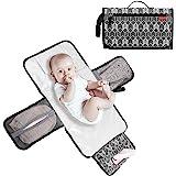Lekebaby Portable Diaper Changing Pad Waterproof Change Mat Travel for Baby, Built-in Head Cushion, Arrow Print, Grey