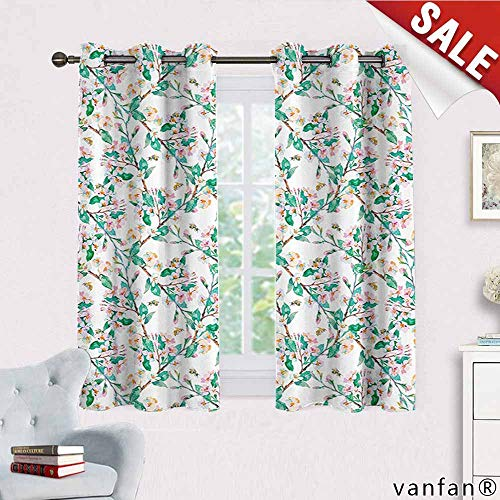 Big datastore Flower Curtains Hippie,Pink Cherry Blossoms Pattern with Bumble Bees Japanese Spring Themed Chic Print Blackout Printed for Kitchen,Pink Green W55 x L63 ()
