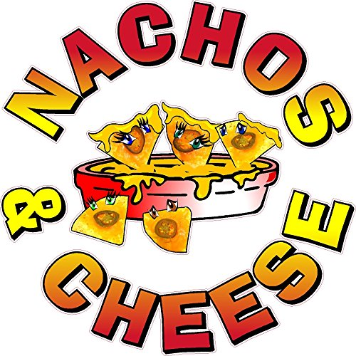 Nachos & Cheese 8'' x 8'' food truck restaurant cafe vinyl decal window or wall mural by Biggygraphics