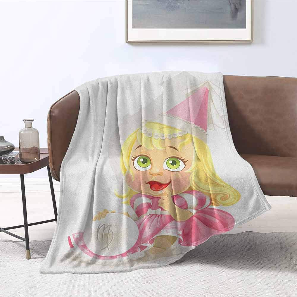 zojihouse Zodiac Virgo Twin Size Blanket Cute Princess Baby with Pink Clothes Yellow Hair and Green Eyes Girls Kids W71xL90.5 Multicolor