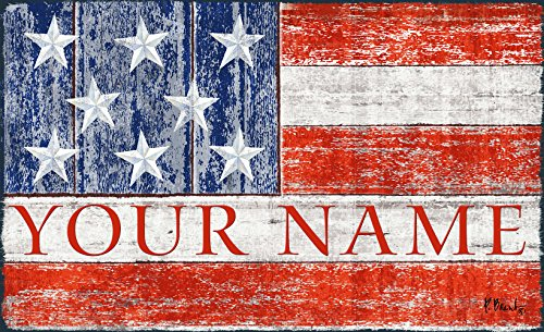 Toland Patriotic America USA Flag Your Name Personalized Custom Standard Mat 18