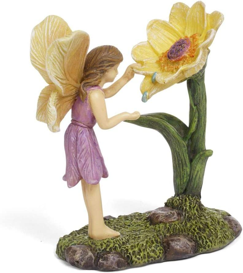 Marshall Home and Garden Morning Dew Fairy Floral Yellow 4 x 3 Resin Stone Collectible Figurine