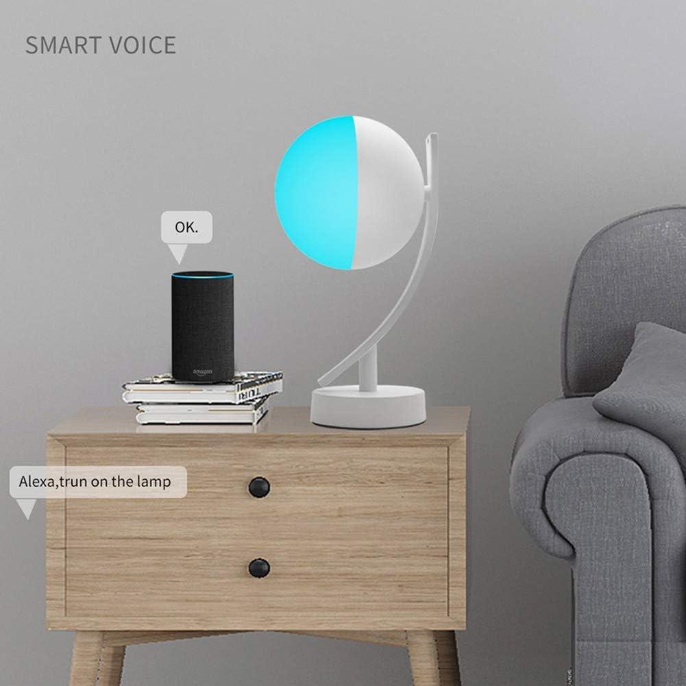 WANGIRL Lampe de Bureau RGB LED 7W Intelligent Voice LED Contr/ôle WiFi Application a Distance Dimmable Chambre Night Light,Warmlight+RGB