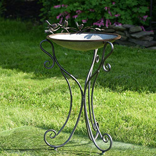 (Zaer Ltd. Galvanized Birdbath with Three Cast Iron Bird)