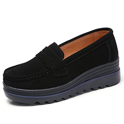 50c2fc64dc65 HKR-MH8775heise35 Women Platform Loafers Flats Comfortable Slip On Suede  Moccasins Trainers Wide Low Top