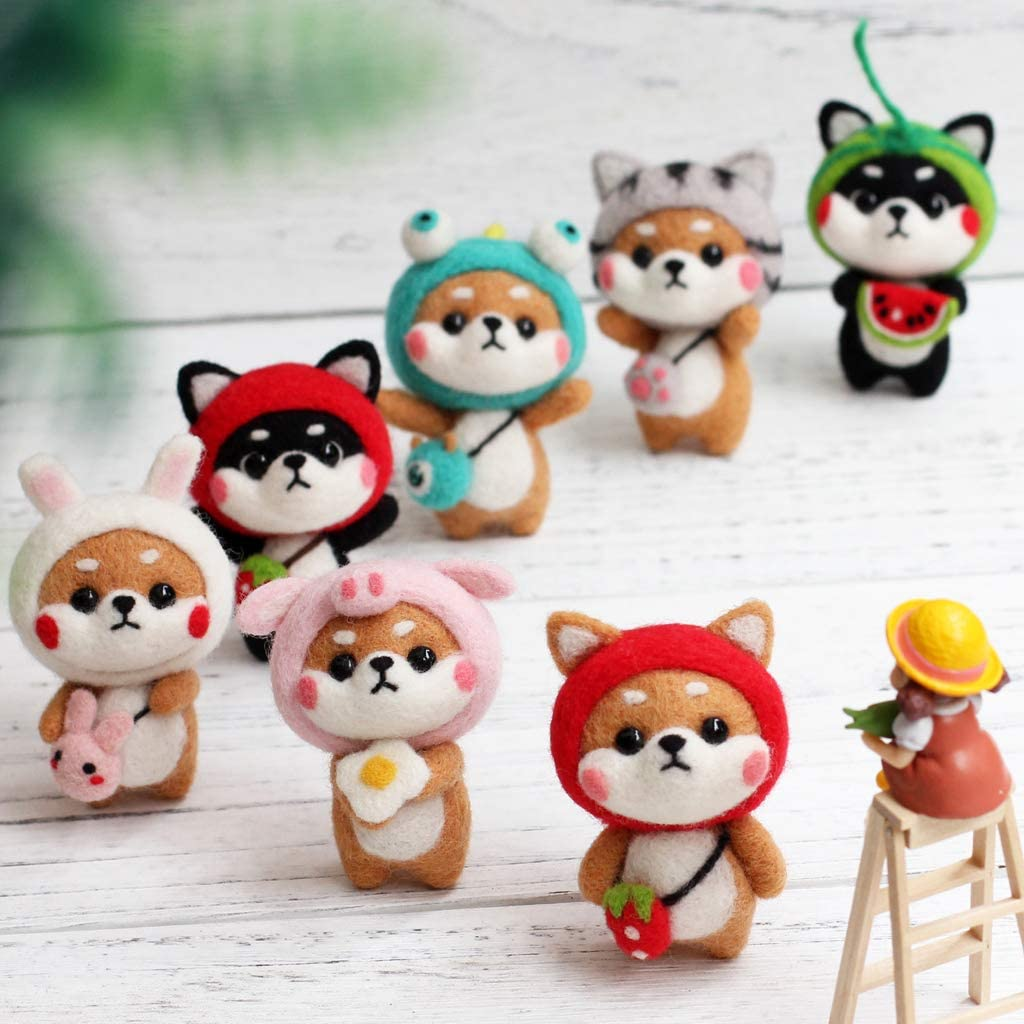 Leidersty Felt Animals Needle Felting Kit Hamster DIY 3x2x1.38