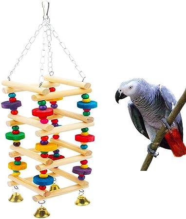 Li-HIM Juguete Masticable para Romper Lágrimas De Pájaros Jaula para Pájaros con Escalera De Madera Seguro Mordida Resistente para Periquitos Cacatúas Periquitos (3.93X3.93X3.93In): Amazon.es: Hogar