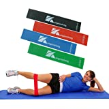 Resistance Loop Bands,Home Fitness Exercise Band Set of 4 with Instructional Booklet for Workout and Physical Therapy,Physio,Rehabilitation,Yoga,Pilates,Cross Fit,Suitable for Women and Men
