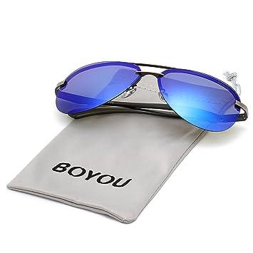 BOYOU Frame Mirror Lunettes de soleil sport de plein air pour homme 8iANb