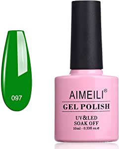 AIMEILI Soak Off UV LED Gel Nail Polish - Candy Green Castle (097) 10ml