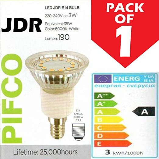 Pifco 3 W (35 W) JDR campana extractora extractora no regulable E14 rosca pequeña bombilla LED, 190 lúmenes, 6000 K blanco – [Clase energética A]: Amazon.es: Iluminación
