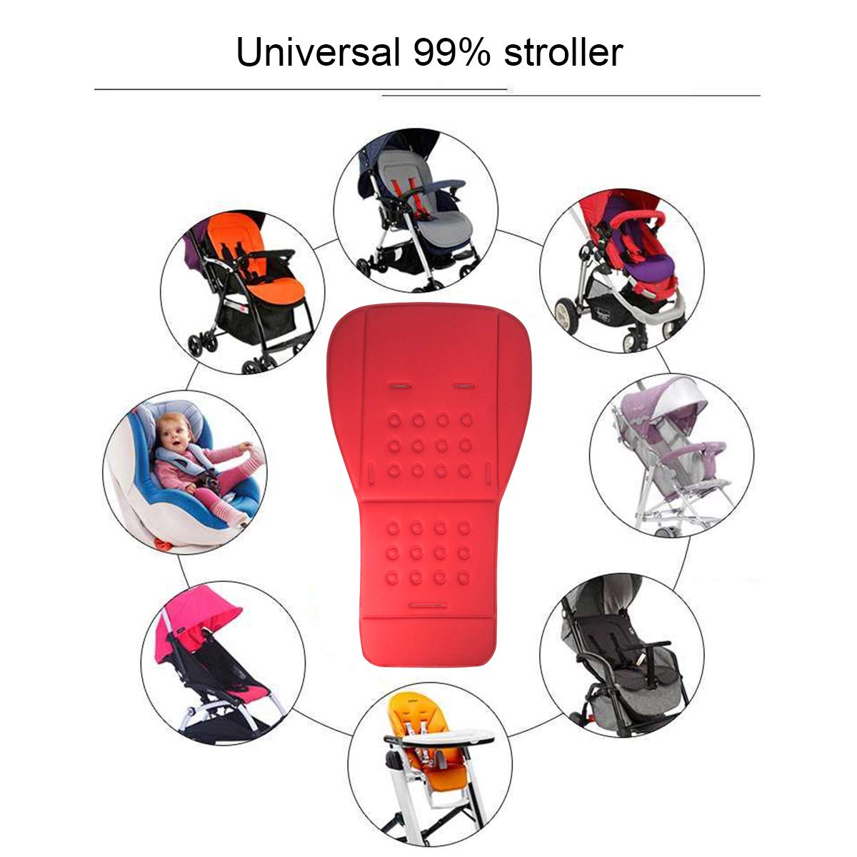 Blue Baby Stroller Highchair Cushion Liner Mat Pushchair Pad Car Seat Mat Universal Cover Protector Breathable Soft