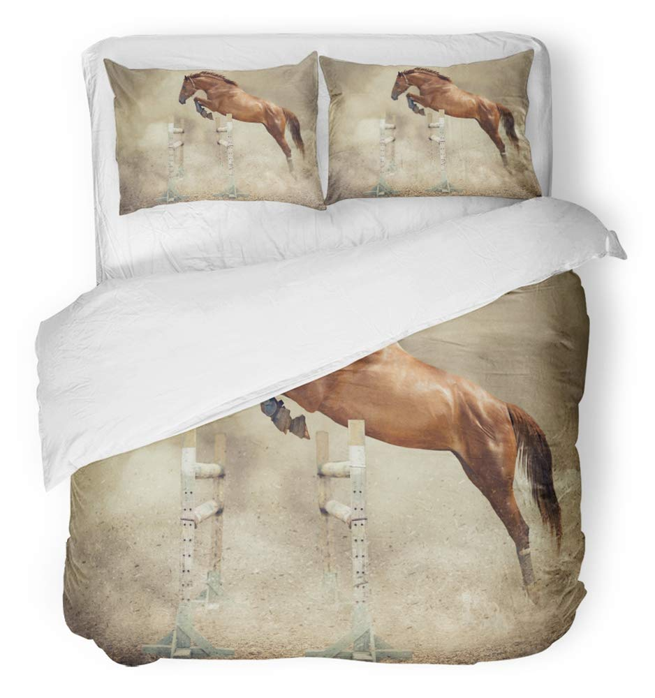 Emvency 3 Piece Duvet Cover Set Breathable Brushed Microfiber Fabric Jump to School Jumper of Horse Stallion Show Animals Boots Dust Equestrian Sand Bedding Set with 2 Pillow Covers Full/Queen Size