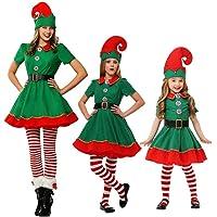 LSERVER Costumes de Noël Costume de Lutin de Noël Enfant Cosplay Vêtement Déguisement Parent-Enfant Adulte
