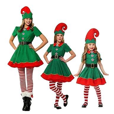 add2bbc6a9cb2 LSERVER Costumes de Noël Costume de Lutin de Noël Enfant Cosplay Vêtement  Déguisement Parent-Enfant Adulte  Amazon.fr  Vêtements et accessoires