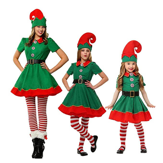 45cb418078f7 LSERVER Costumi di Natale per Adulti e Bambini Vestito per Elfi di Natale  per Bambini: Amazon.it: Abbigliamento