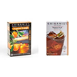 China Mist - Naturally Flavored Tropical Orange Black Iced Tea Bags - Each Tea Bag Yields 1/2 Gallon & Passion Fruit Black Iced Tea Bags - Each Tea Bag Yields 1/2 Gallon