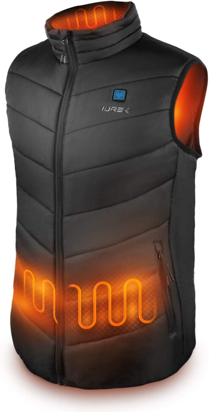 OWSOO Gilet Riscaldato Smart USB Ricarica,a 3 velocit/à Temperatura regolabile,Scaldino elettrico Gilet invernale,febbre a infrarossi lontani Design con cerniera per uomo,Donna Regalo,anziani,S