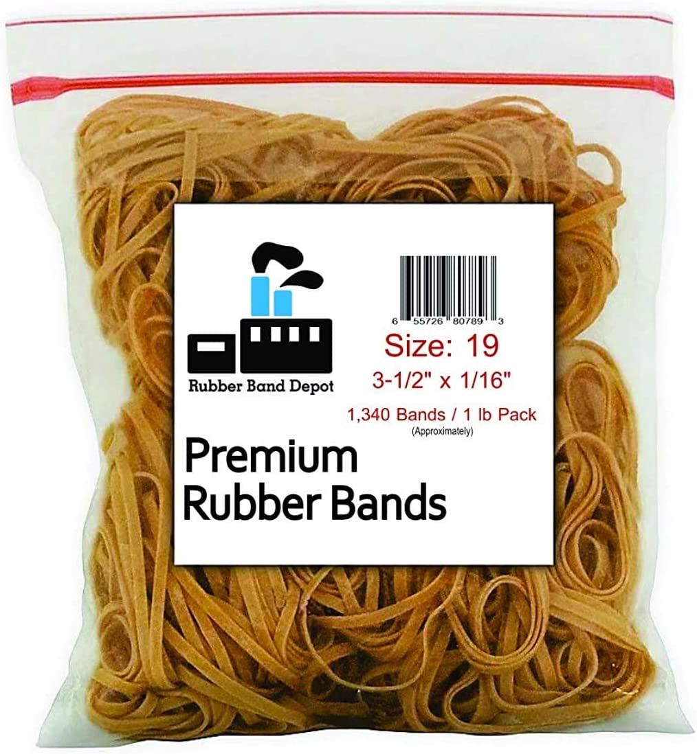 """Rubber Bands, Rubber Band Depot, Size #19 (3-1/2"""" x 1/16'') (1/4 Pound Bag)"""