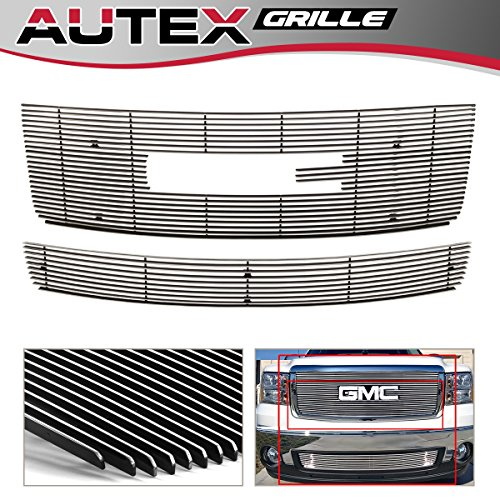 AUTEX G67861A Aluminum Polished Grill Combo Compatible With GMC Sierra 1500 2007-2013/GMC Sierra Denali 2007-2010 Main Upper Grille + Lower Bumper Billet Grille