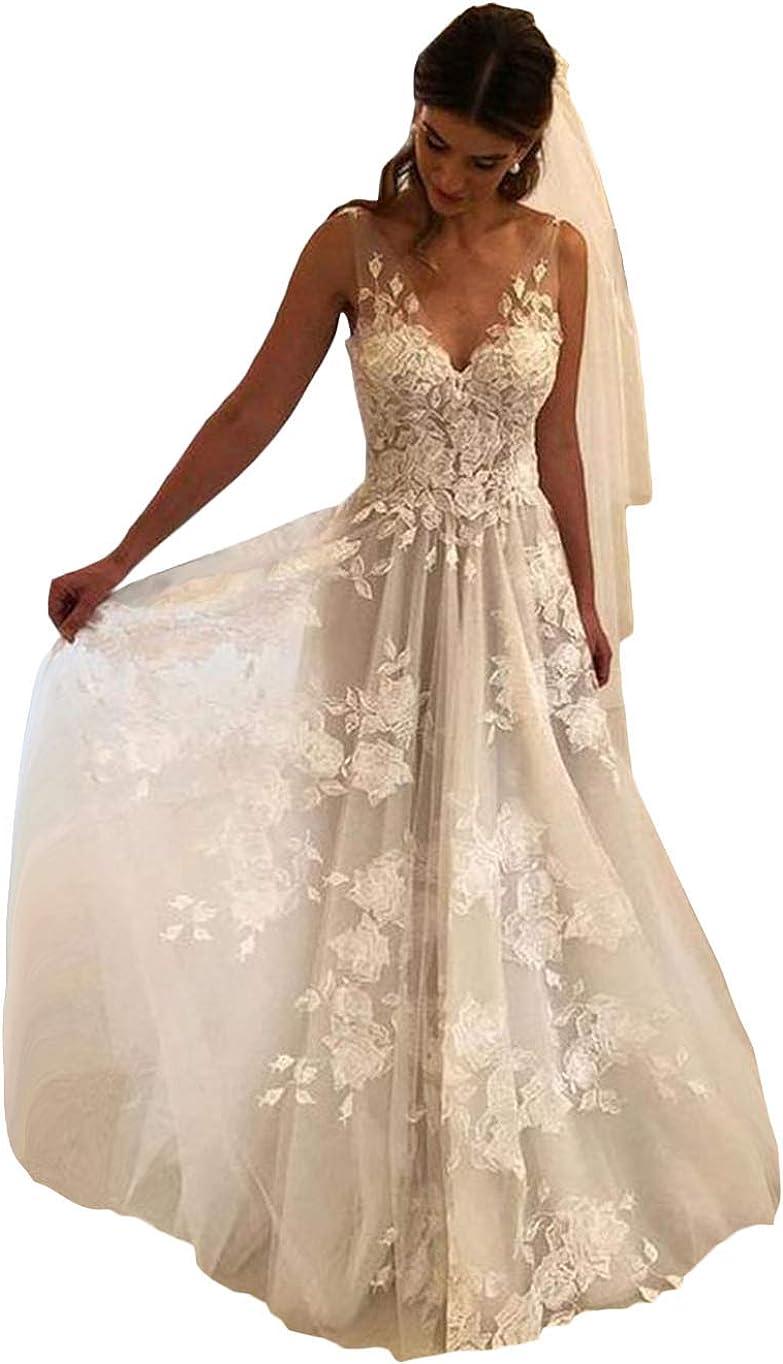 Amazon Com Tsbridal Women Wedding Dresses A Line V Neck Tulle Lace Backless Boho Wedding Gown Bridal Dresses Clothing,Wedding Reception Simple Nikkah Dresses For Bride